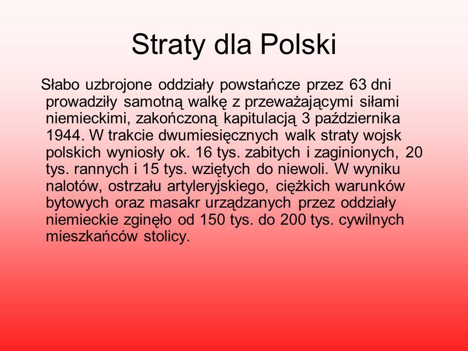 Straty dla Polski Słabo uzbrojone oddziały powstańcze przez 63 dni prowadziły samotną walkę z przeważającymi siłami niemieckimi, zakończoną kapitulacją 3 października 1944.