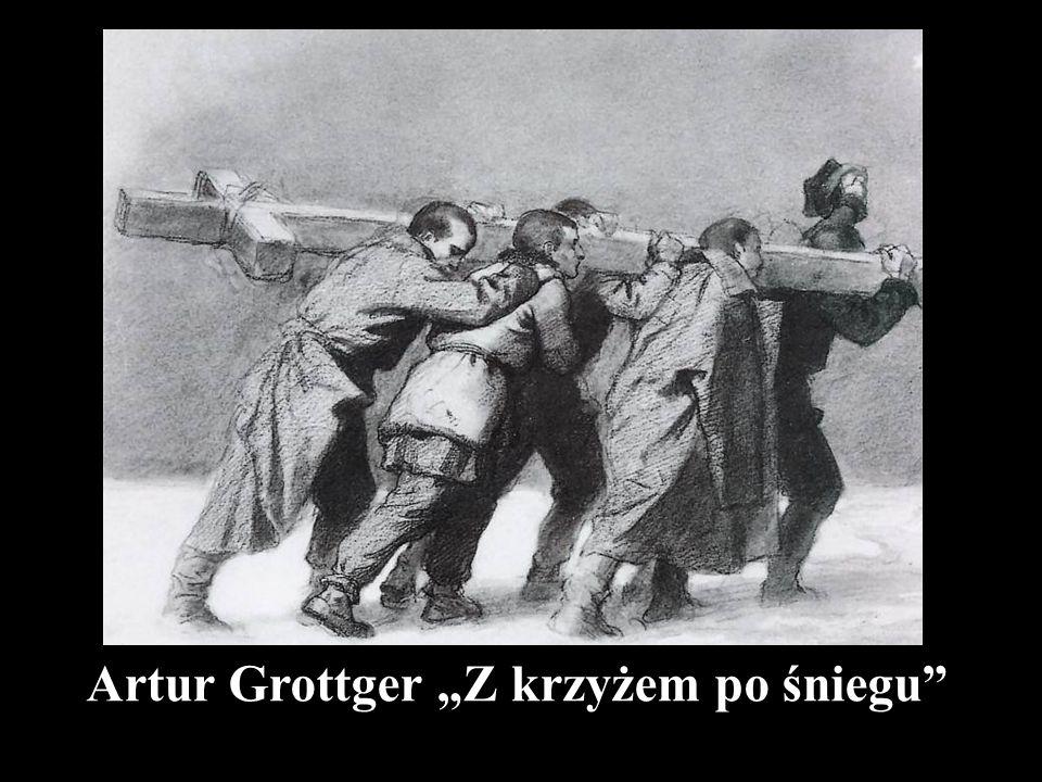 """Artur Grottger """"Z krzyżem po śniegu"""""""