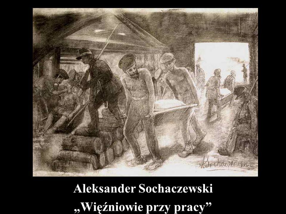 Aleksander Sochaczewski Wieczór zesłańców w kopalni sybirskiej