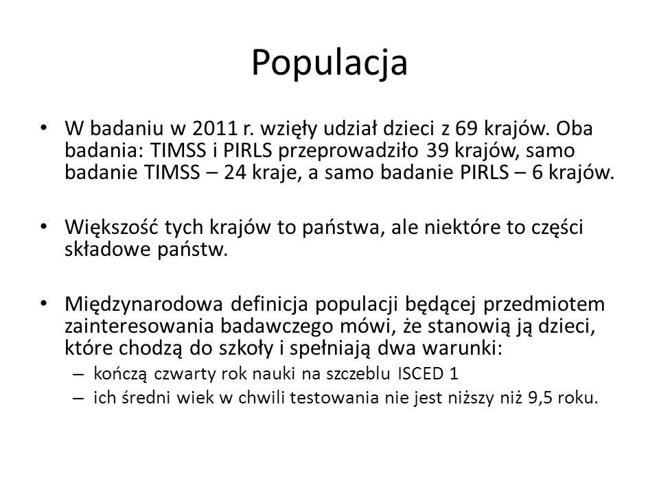 Próba w Polsce Badanie ukończyło w zgodzie z procedurą: 5 027 (TIMSS) i 5 005 (PIRLS) uczniów z 257 oddziałów klasy trzeciej 150 szkół podstawowych.