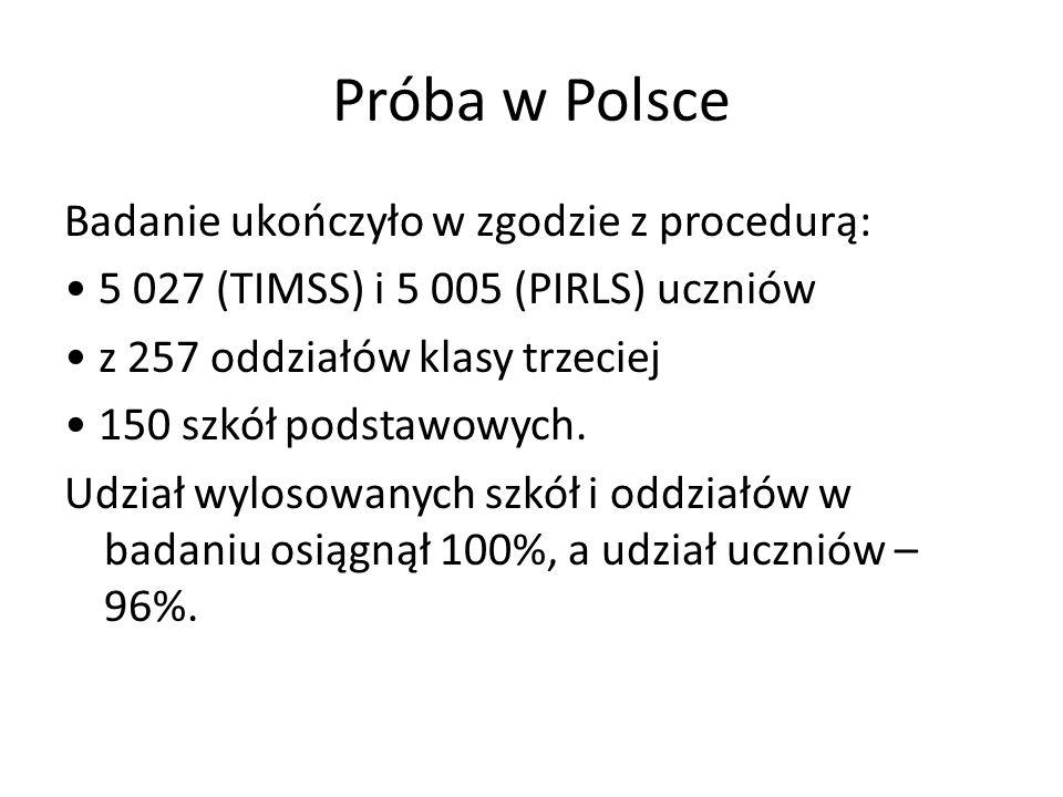 Próba w Polsce Badanie ukończyło w zgodzie z procedurą: 5 027 (TIMSS) i 5 005 (PIRLS) uczniów z 257 oddziałów klasy trzeciej 150 szkół podstawowych. U