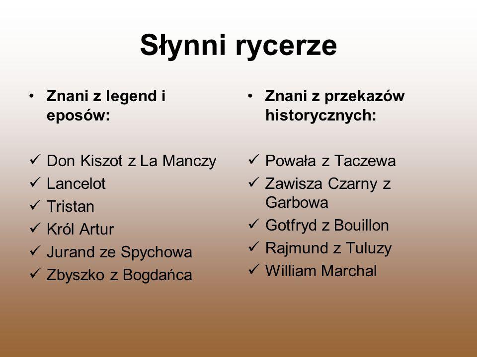 Słynni rycerze Znani z legend i eposów: Don Kiszot z La Manczy Lancelot Tristan Król Artur Jurand ze Spychowa Zbyszko z Bogdańca Znani z przekazów his