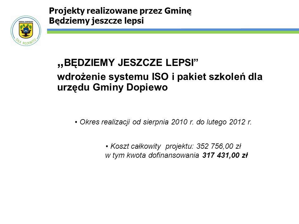 """"""" BĘDZIEMY JESZCZE LEPSI"""" wdrożenie systemu ISO i pakiet szkoleń dla urzędu Gminy Dopiewo Projekty realizowane przez Gminę Będziemy jeszcze lepsi Okre"""