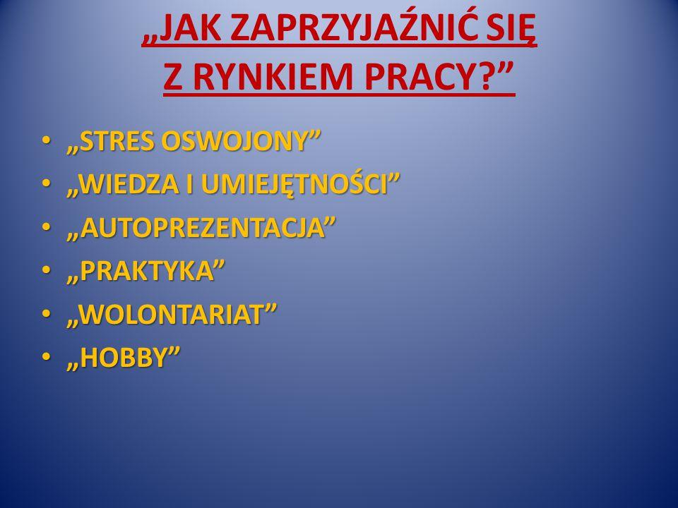 """""""JAK ZAPRZYJAŹNIĆ SIĘ Z RYNKIEM PRACY """"STRES OSWOJONY """"STRES OSWOJONY """"WIEDZA I UMIEJĘTNOŚCI """"WIEDZA I UMIEJĘTNOŚCI """"AUTOPREZENTACJA """"AUTOPREZENTACJA """"PRAKTYKA """"PRAKTYKA """"WOLONTARIAT """"WOLONTARIAT """"HOBBY """"HOBBY"""