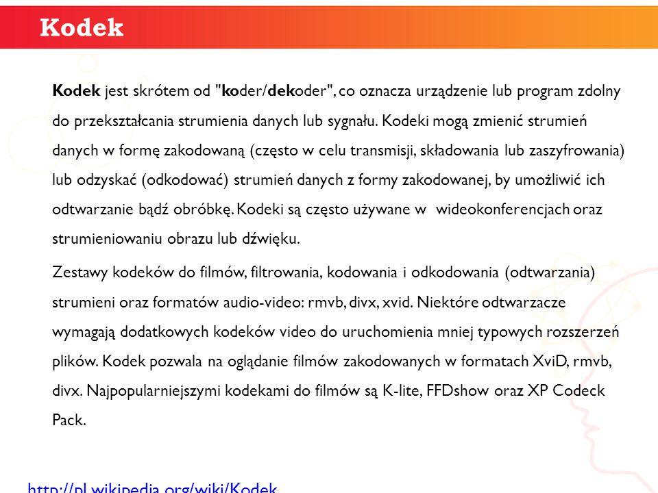 Kodek Kodek jest skrótem od koder/dekoder , co oznacza urządzenie lub program zdolny do przekształcania strumienia danych lub sygnału.