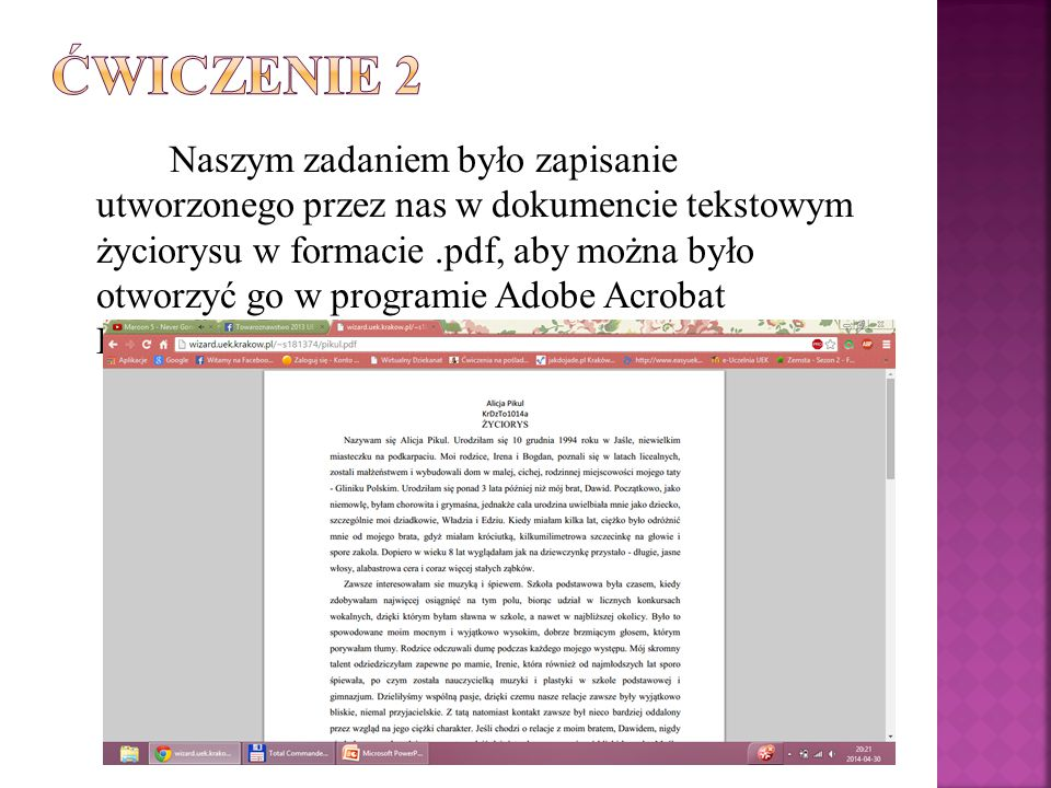 Naszym zadaniem było zapisanie utworzonego przez nas w dokumencie tekstowym życiorysu w formacie.pdf, aby można było otworzyć go w programie Adobe Acr