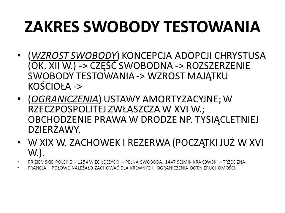 ZAKRES SWOBODY TESTOWANIA (WZROST SWOBODY) KONCEPCJA ADOPCJI CHRYSTUSA (OK. XII W.) -> CZĘŚĆ SWOBODNA -> ROZSZERZENIE SWOBODY TESTOWANIA -> WZROST MAJ