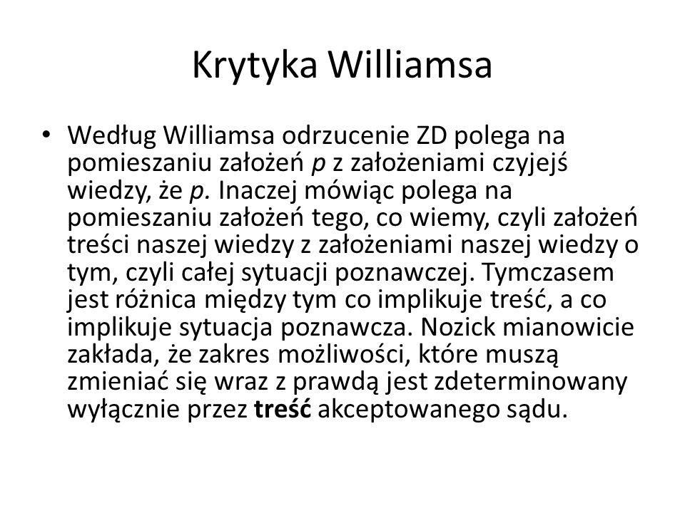 Krytyka Williamsa Według Williamsa odrzucenie ZD polega na pomieszaniu założeń p z założeniami czyjejś wiedzy, że p.