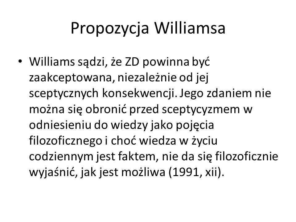 Propozycja Williamsa Williams sądzi, że ZD powinna być zaakceptowana, niezależnie od jej sceptycznych konsekwencji.