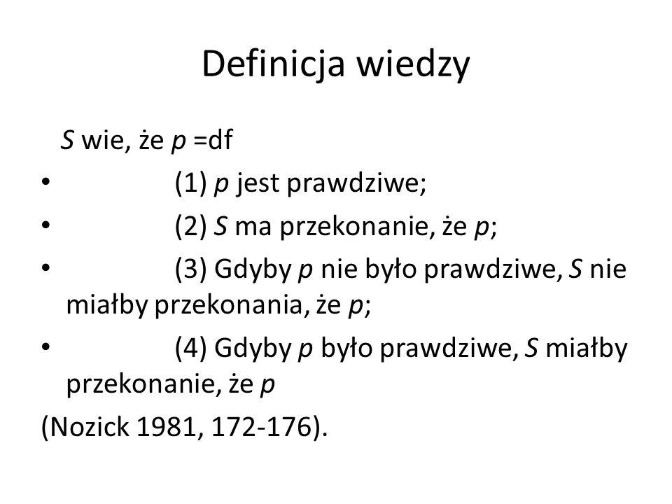 Definicja wiedzy S wie, że p =df (1) p jest prawdziwe; (2) S ma przekonanie, że p; (3) Gdyby p nie było prawdziwe, S nie miałby przekonania, że p; (4) Gdyby p było prawdziwe, S miałby przekonanie, że p (Nozick 1981, 172-176).