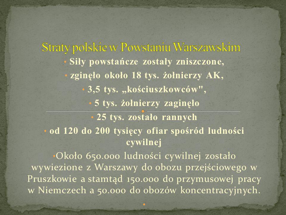 """Siły powstańcze zostały zniszczone, zginęło około 18 tys. żołnierzy AK, 3,5 tys. """"kościuszkowców"""