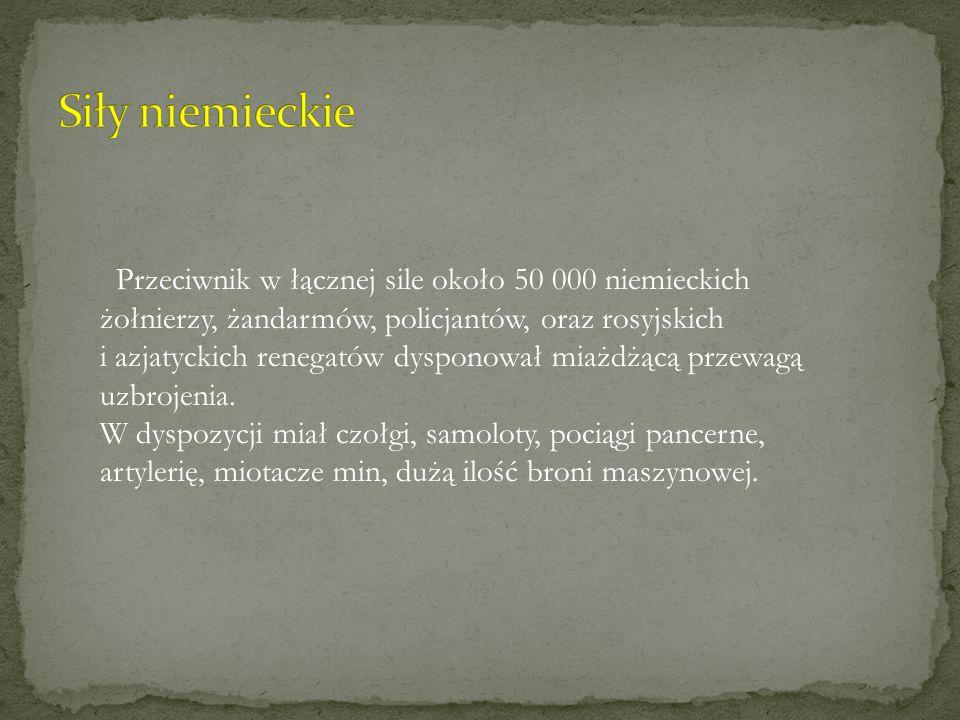 Przeciwnik w łącznej sile około 50 000 niemieckich żołnierzy, żandarmów, policjantów, oraz rosyjskich i azjatyckich renegatów dysponował miażdżącą prz