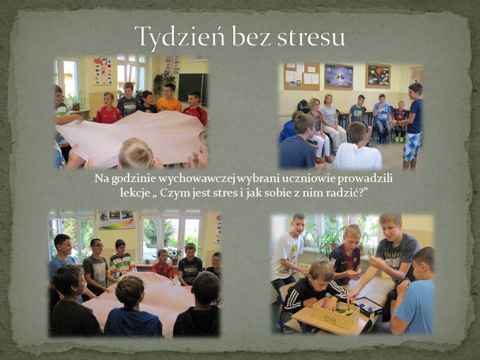 """Na godzinie wychowawczej wybrani uczniowie prowadzili lekcje """" Czym jest stres i jak sobie z nim radzić"""