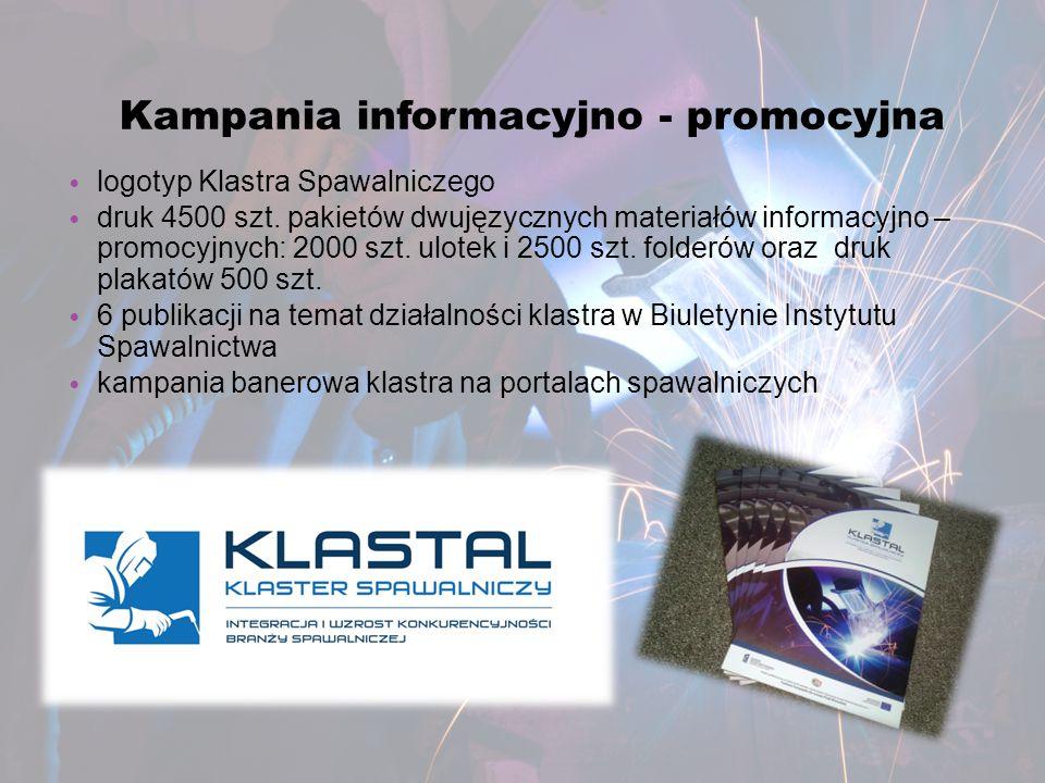 Kampania informacyjno - promocyjna logotyp Klastra Spawalniczego druk 4500 szt. pakietów dwujęzycznych materiałów informacyjno – promocyjnych: 2000 sz
