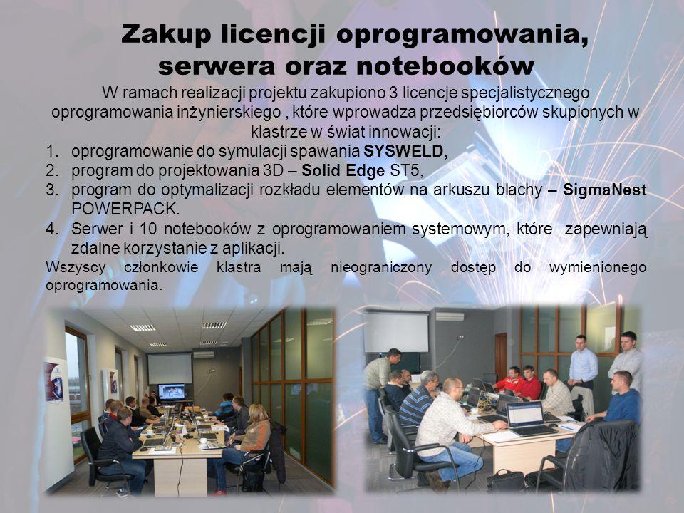 Zakup licencji oprogramowania, serwera oraz notebooków W ramach realizacji projektu zakupiono 3 licencje specjalistycznego oprogramowania inżynierskie