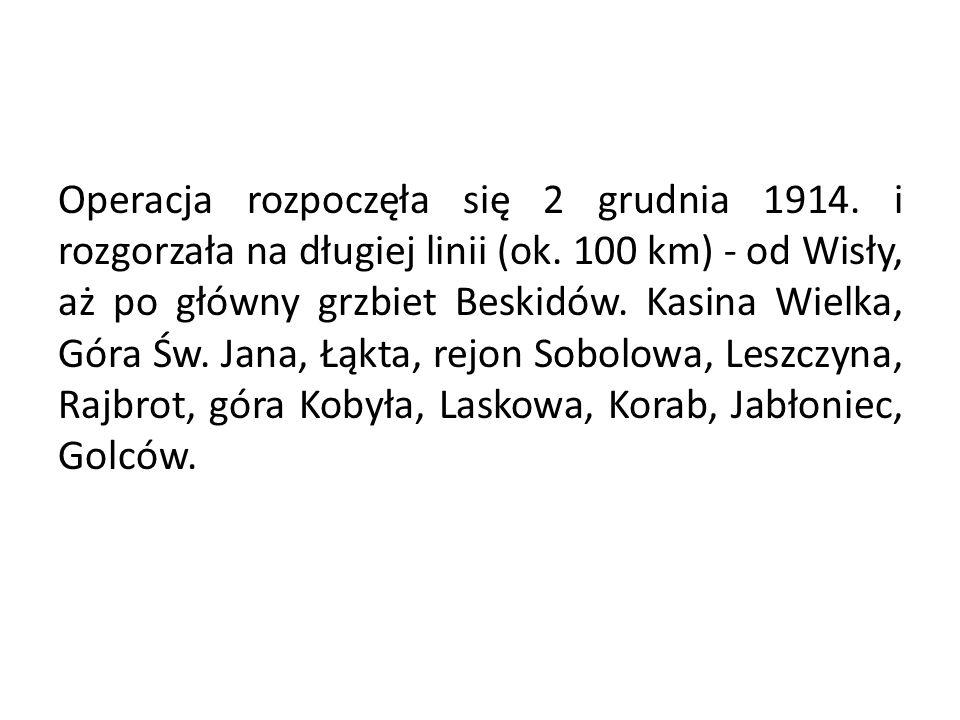 Operacja rozpoczęła się 2 grudnia 1914. i rozgorzała na długiej linii (ok. 100 km) - od Wisły, aż po główny grzbiet Beskidów. Kasina Wielka, Góra Św.