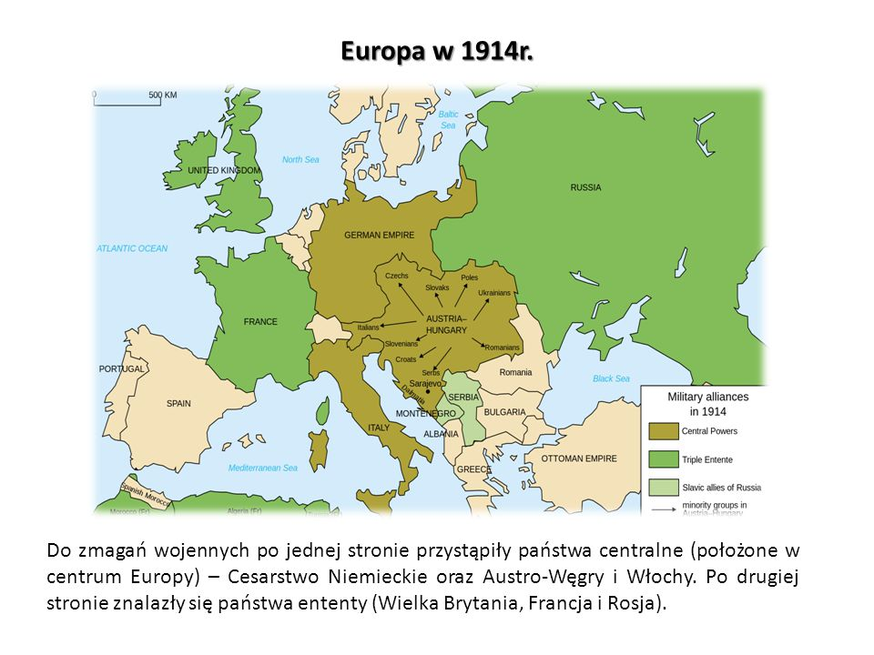 Europa w 1914r. Do zmagań wojennych po jednej stronie przystąpiły państwa centralne (położone w centrum Europy) – Cesarstwo Niemieckie oraz Austro-Węg