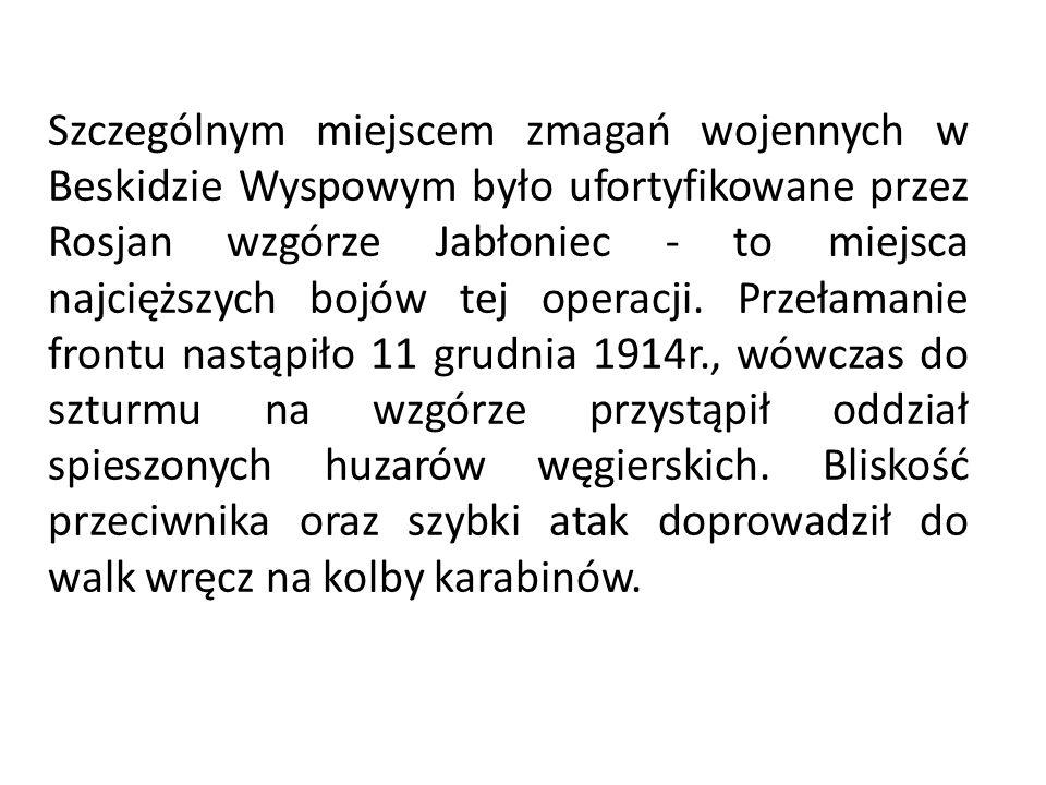 Szczególnym miejscem zmagań wojennych w Beskidzie Wyspowym było ufortyfikowane przez Rosjan wzgórze Jabłoniec - to miejsca najcięższych bojów tej operacji.