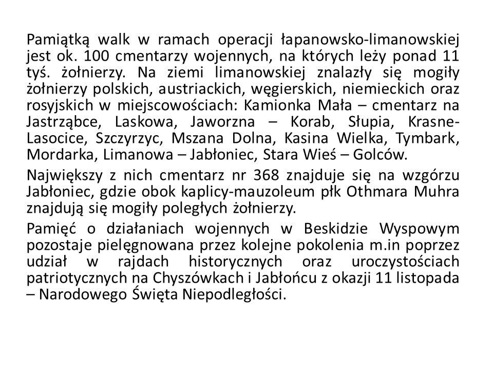 Pamiątką walk w ramach operacji łapanowsko-limanowskiej jest ok. 100 cmentarzy wojennych, na których leży ponad 11 tyś. żołnierzy. Na ziemi limanowski