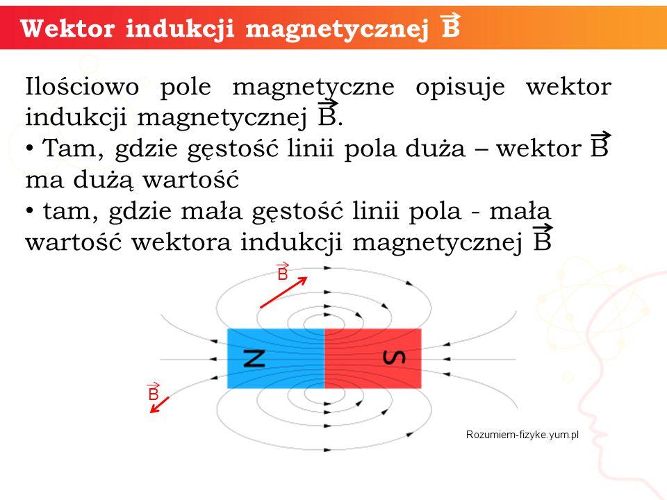 Wektor indukcji magnetycznej B Ilościowo pole magnetyczne opisuje wektor indukcji magnetycznej B. Tam, gdzie gęstość linii pola duża – wektor B ma duż
