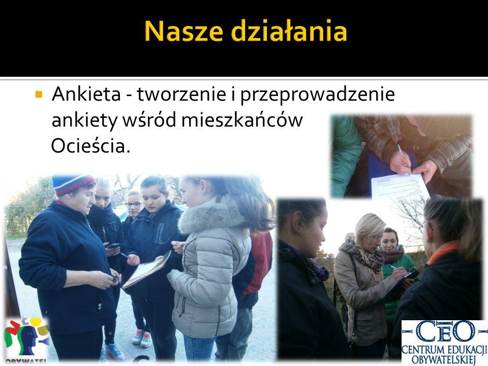  Ankieta - tworzenie i przeprowadzenie ankiety wśród mieszkańców Ocieścia.