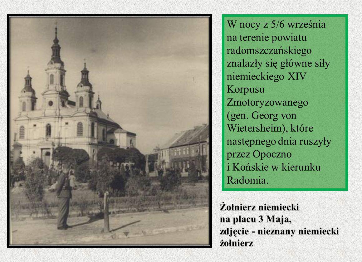 W nocy z 5/6 września na terenie powiatu radomszczańskiego znalazły się główne siły niemieckiego XIV Korpusu Zmotoryzowanego (gen. Georg von Wietershe