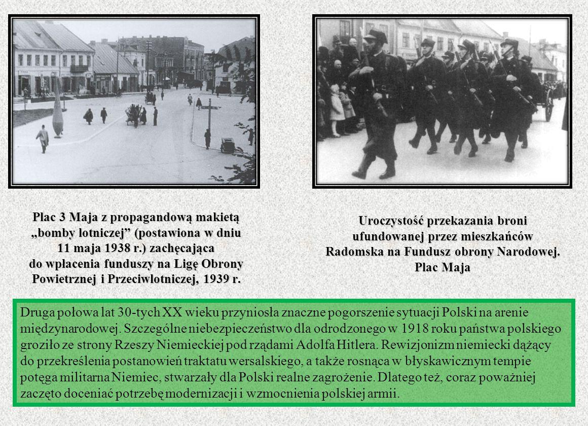 Uroczystość przekazania broni ufundowanej przez mieszkańców Radomska na Fundusz obrony Narodowej. Plac Maja Druga połowa lat 30-tych XX wieku przynios