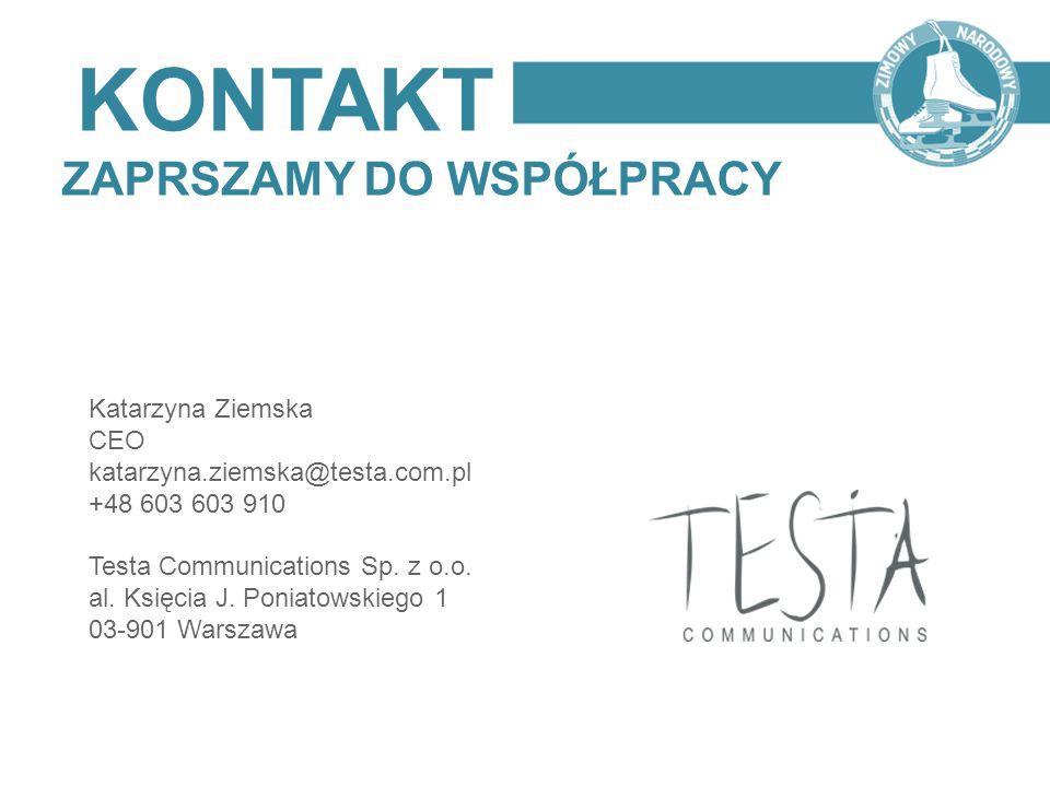 Katarzyna Ziemska CEO katarzyna.ziemska@testa.com.pl +48 603 603 910 Testa Communications Sp. z o.o. al. Księcia J. Poniatowskiego 1 03-901 Warszawa K