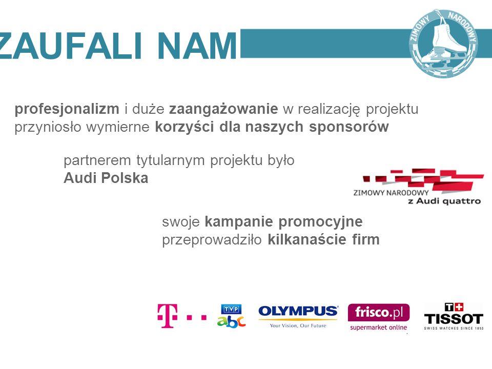 ZAUFALI NAM profesjonalizm i duże zaangażowanie w realizację projektu przyniosło wymierne korzyści dla naszych sponsorów partnerem tytularnym projektu
