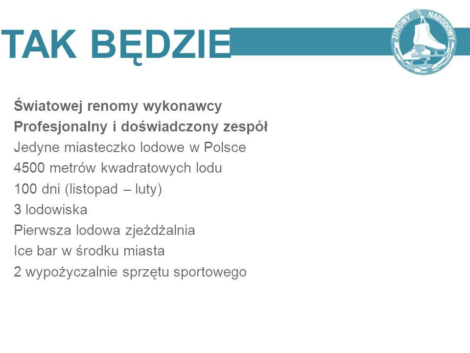 Światowej renomy wykonawcy Profesjonalny i doświadczony zespół Jedyne miasteczko lodowe w Polsce 4500 metrów kwadratowych lodu 100 dni (listopad – lut