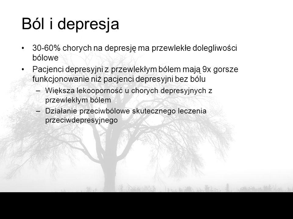 Ból i depresja 30-60% chorych na depresję ma przewlekłe dolegliwości bólowe Pacjenci depresyjni z przewlekłym bólem mają 9x gorsze funkcjonowanie niż pacjenci depresyjni bez bólu –Większa lekooporność u chorych depresyjnych z przewlekłym bólem –Działanie przeciwbólowe skutecznego leczenia przeciwdepresyjnego