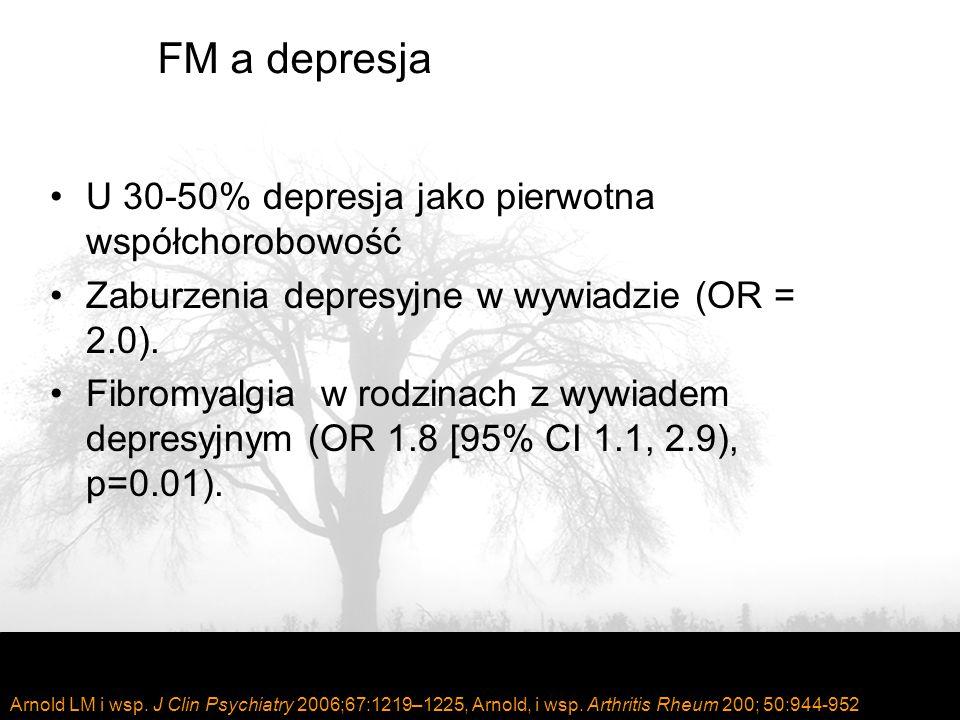 FM a depresja U 30-50% depresja jako pierwotna współchorobowość Zaburzenia depresyjne w wywiadzie (OR = 2.0).