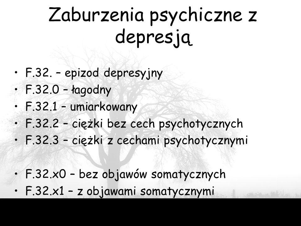 49 Zaburzenia psychiczne z depresją F.32. – epizod depresyjny F.32.0 – łagodny F.32.1 – umiarkowany F.32.2 – ciężki bez cech psychotycznych F.32.3 – c