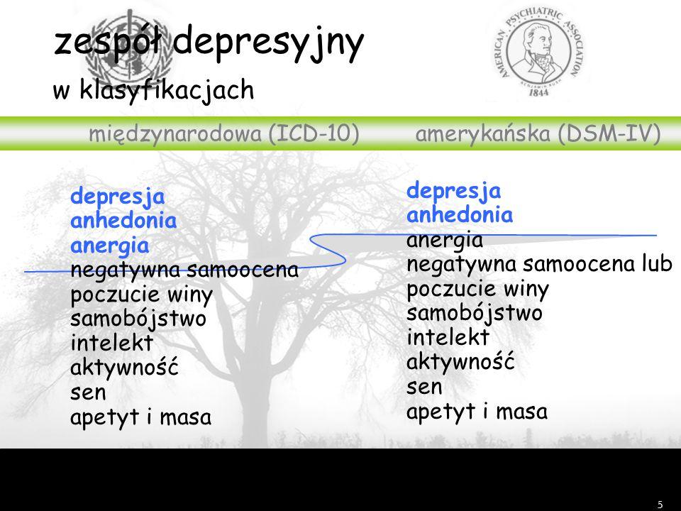 5 zespół depresyjny w klasyfikacjach międzynarodowa (ICD-10)amerykańska (DSM-IV) depresja anhedonia anergia negatywna samoocena lub poczucie winy samobójstwo intelekt aktywność sen apetyt i masa depresja anhedonia anergia negatywna samoocena poczucie winy samobójstwo intelekt aktywność sen apetyt i masa