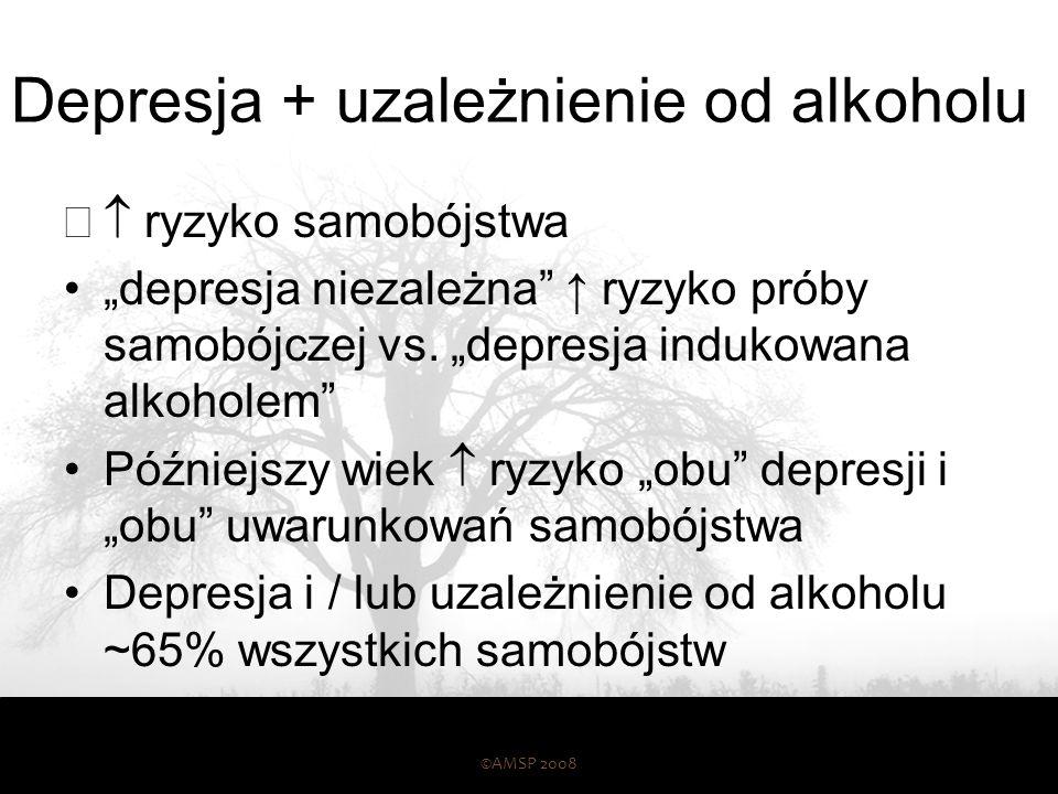 """Depresja + uzależnienie od alkoholu  ryzyko samobójstwa """"depresja niezależna"""" ↑ ryzyko próby samobójczej vs. """"depresja indukowana alkoholem"""" Później"""