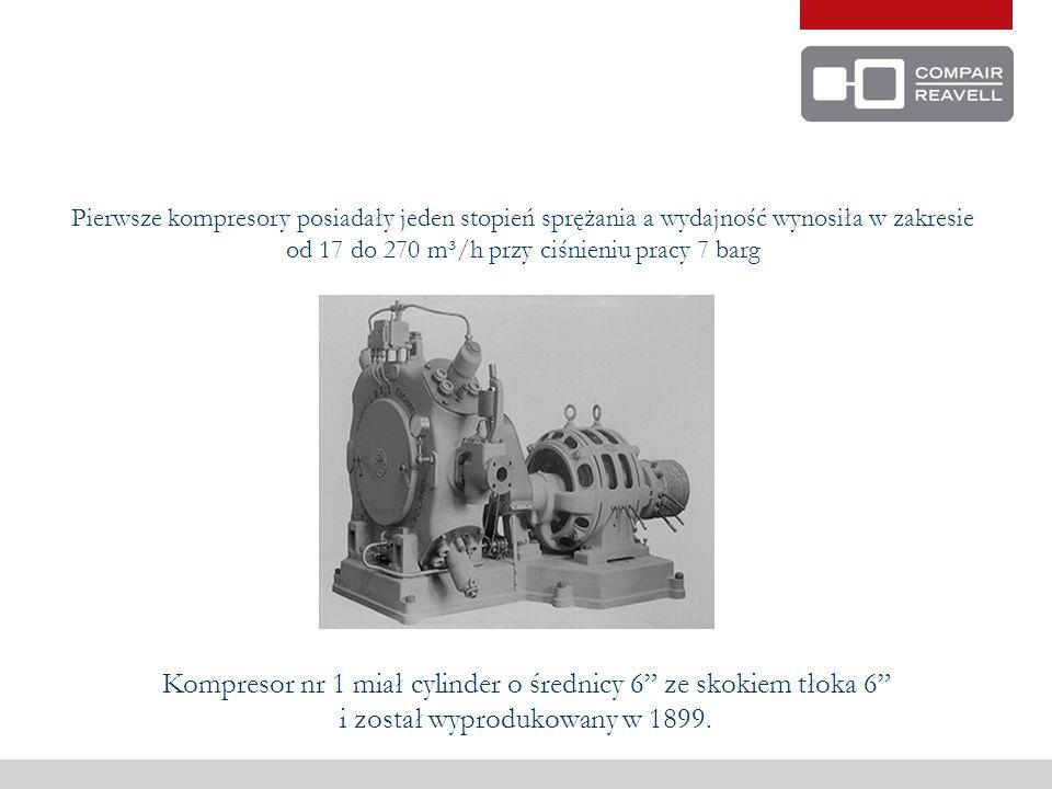 W 1902 roku wytworzono pierwszy 2-stopniowy kompresor Quadruplex, którego wydajność wynosiła 1020 m³/h i ciśnieniu pracy 10,3 barg
