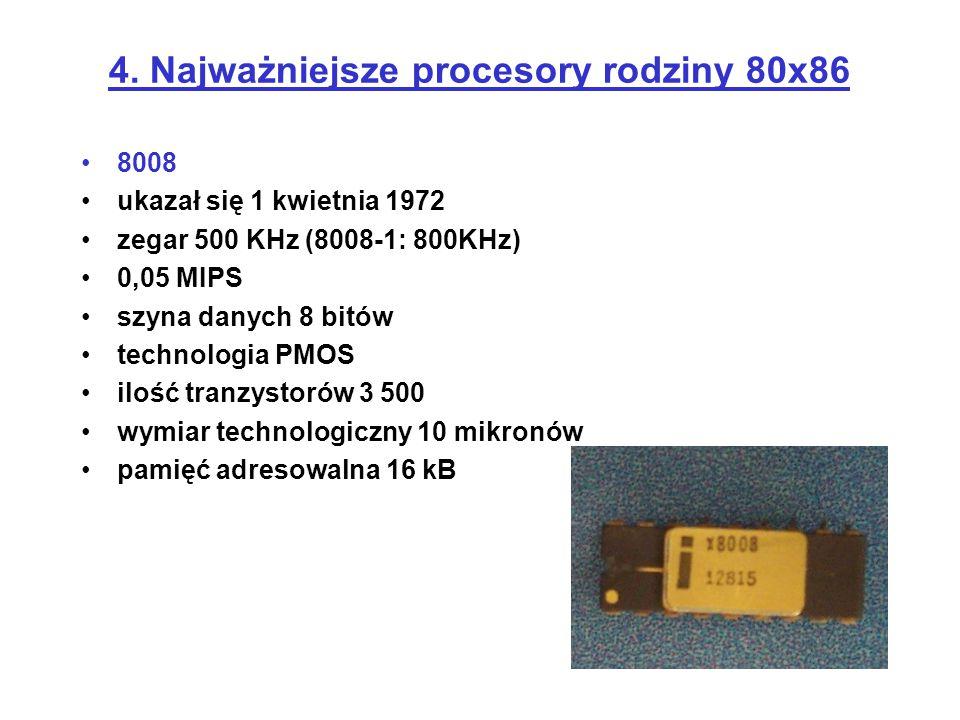 4. Najważniejsze procesory rodziny 80x86 8008 ukazał się 1 kwietnia 1972 zegar 500 KHz (8008-1: 800KHz) 0,05 MIPS szyna danych 8 bitów technologia PMO