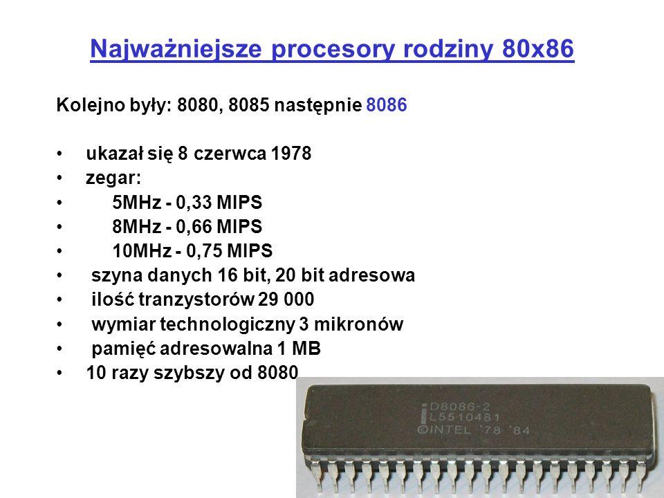 Kolejno były: 8080, 8085 następnie 8086 ukazał się 8 czerwca 1978 zegar: 5MHz - 0,33 MIPS 8MHz - 0,66 MIPS 10MHz - 0,75 MIPS szyna danych 16 bit, 20 b