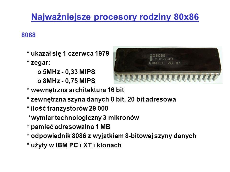 8088 * ukazał się 1 czerwca 1979 * zegar: o 5MHz - 0,33 MIPS o 8MHz - 0,75 MIPS * wewnętrzna architektura 16 bit * zewnętrzna szyna danych 8 bit, 20 b