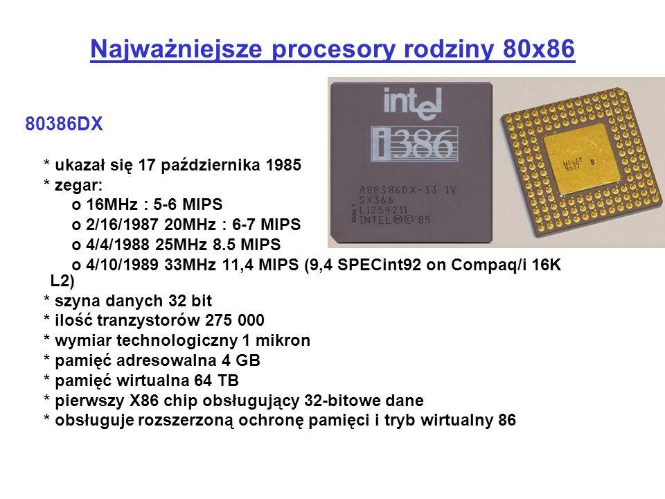 80386DX * ukazał się 17 października 1985 * zegar: o 16MHz : 5-6 MIPS o 2/16/1987 20MHz : 6-7 MIPS o 4/4/1988 25MHz 8.5 MIPS o 4/10/1989 33MHz 11,4 MI