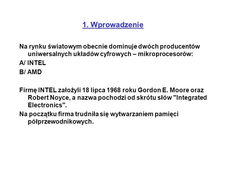 1. Wprowadzenie Na rynku światowym obecnie dominuje dwóch producentów uniwersalnych układów cyfrowych – mikroprocesorów: A/ INTEL B/ AMD Firmę INTEL z