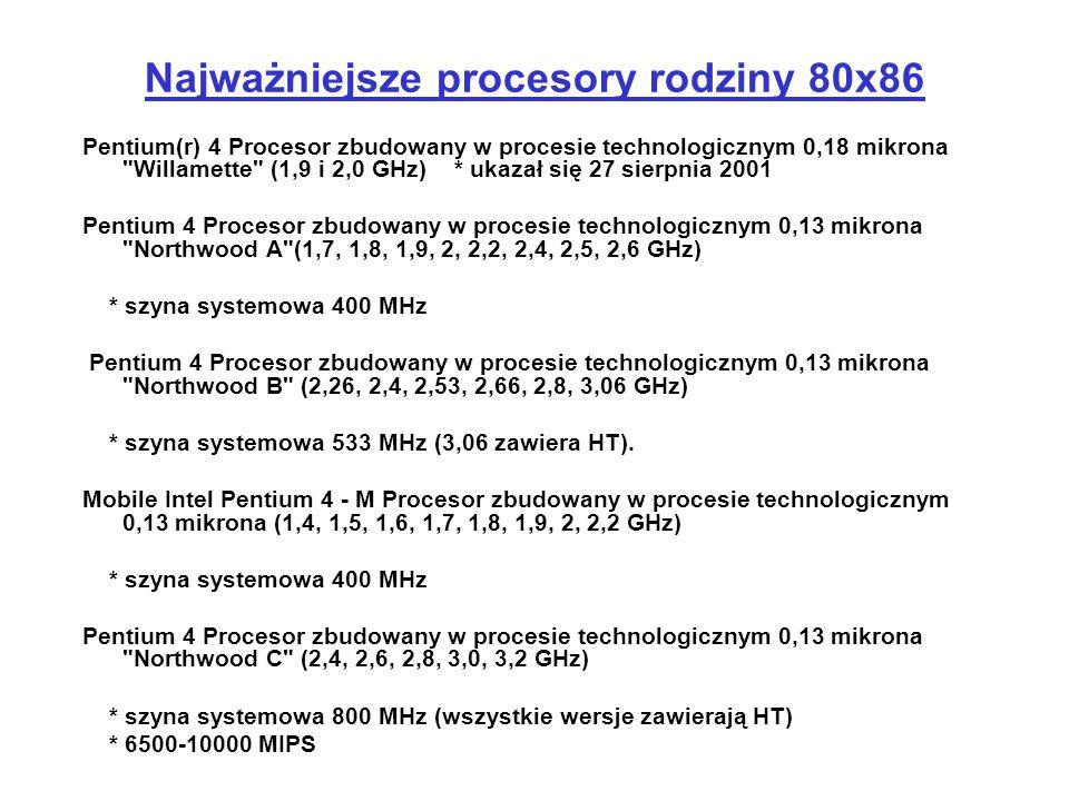 Najważniejsze procesory rodziny 80x86 Pentium(r) 4 Procesor zbudowany w procesie technologicznym 0,18 mikrona