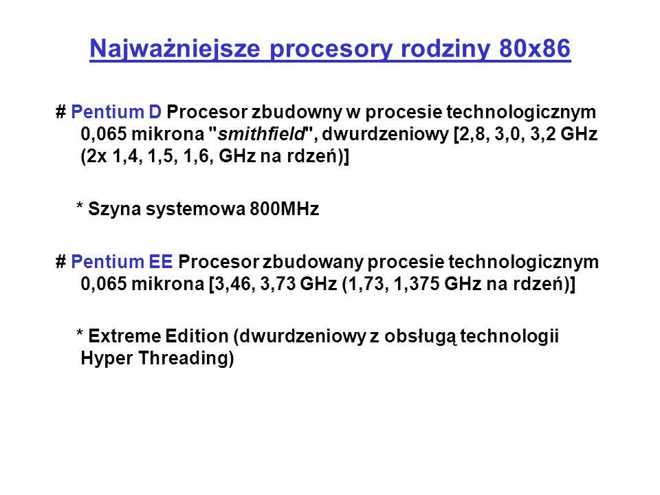 Najważniejsze procesory rodziny 80x86 # Pentium D Procesor zbudowny w procesie technologicznym 0,065 mikrona