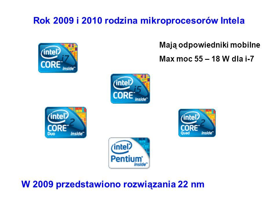 Rok 2009 i 2010 rodzina mikroprocesorów Intela W 2009 przedstawiono rozwiązania 22 nm Mają odpowiedniki mobilne Max moc 55 – 18 W dla i-7