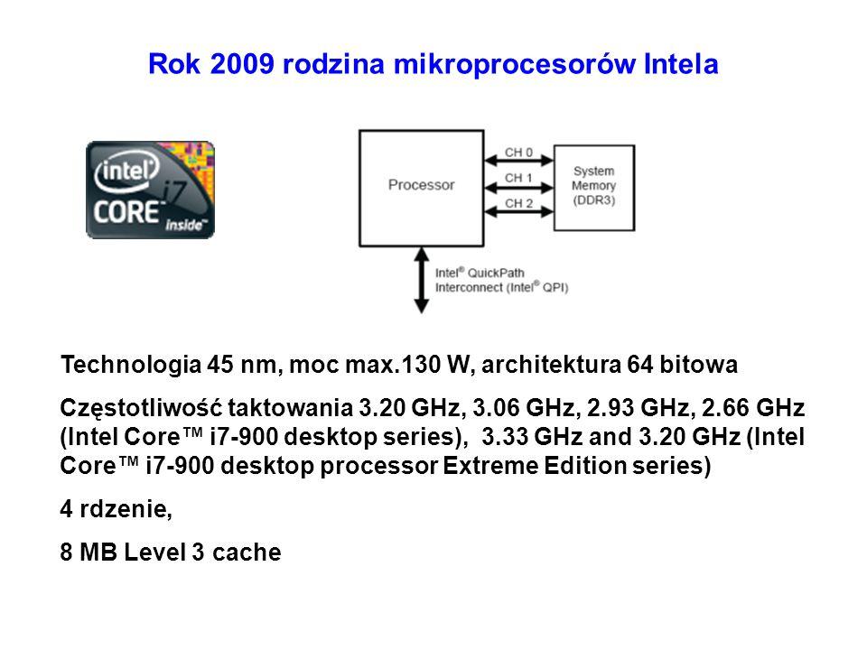 Rok 2009 rodzina mikroprocesorów Intela Technologia 45 nm, moc max.130 W, architektura 64 bitowa Częstotliwość taktowania 3.20 GHz, 3.06 GHz, 2.93 GHz