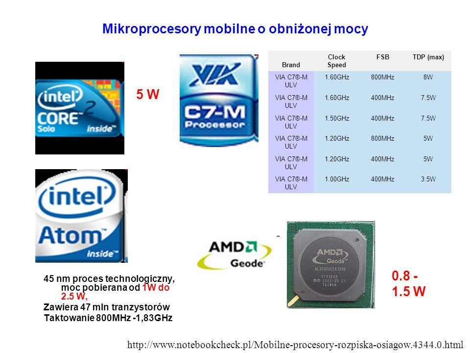 Mikroprocesory mobilne o obniżonej mocy 45 nm proces technologiczny, moc pobierana od 1W do 2.5 W, Zawiera 47 mln tranzystorów Taktowanie 800MHz -1,83