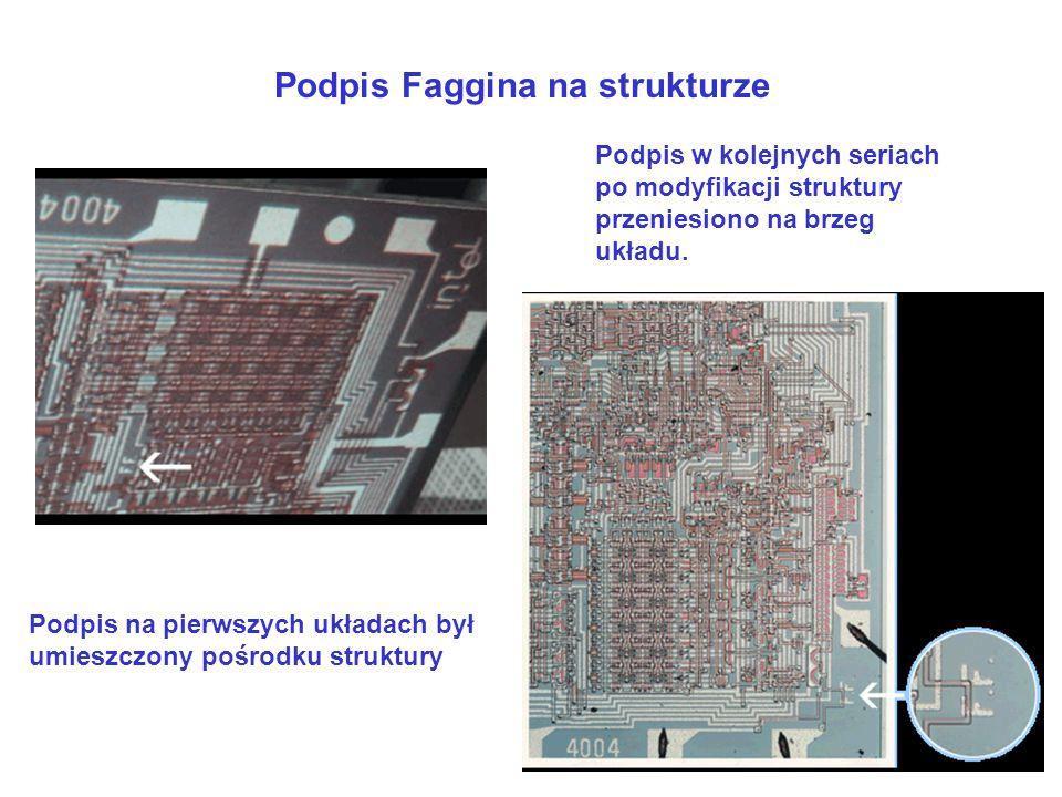 Podpis Faggina na strukturze Podpis na pierwszych układach był umieszczony pośrodku struktury Podpis w kolejnych seriach po modyfikacji struktury prze