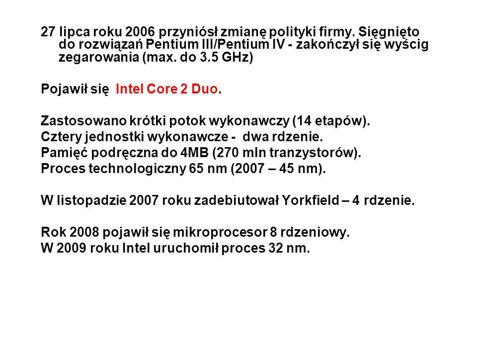 Najważniejsze procesory rodziny 80x86 Pentium(r) 4 Procesor zbudowany w procesie technologicznym 0,18 mikrona (1,40 i 1,50 GHz) * ukazał się 20 listopada 2000 * zintegrowane 256KB Advanced Transfer Cache L2 * obudowa PGA423, PGA478 * szyna systemowa 400MHz * SSE2 SIMD Extensions * ilość tranzystorów 42 miliony