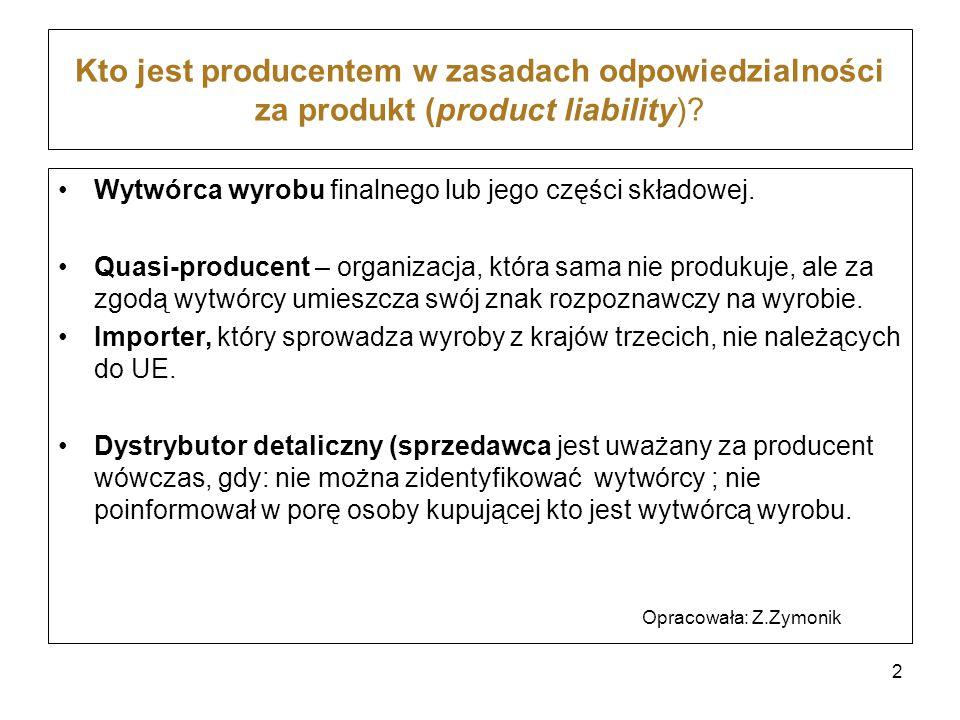 Kto jest producentem w zasadach odpowiedzialności za produkt (product liability)? Wytwórca wyrobu finalnego lub jego części składowej. Quasi-producent