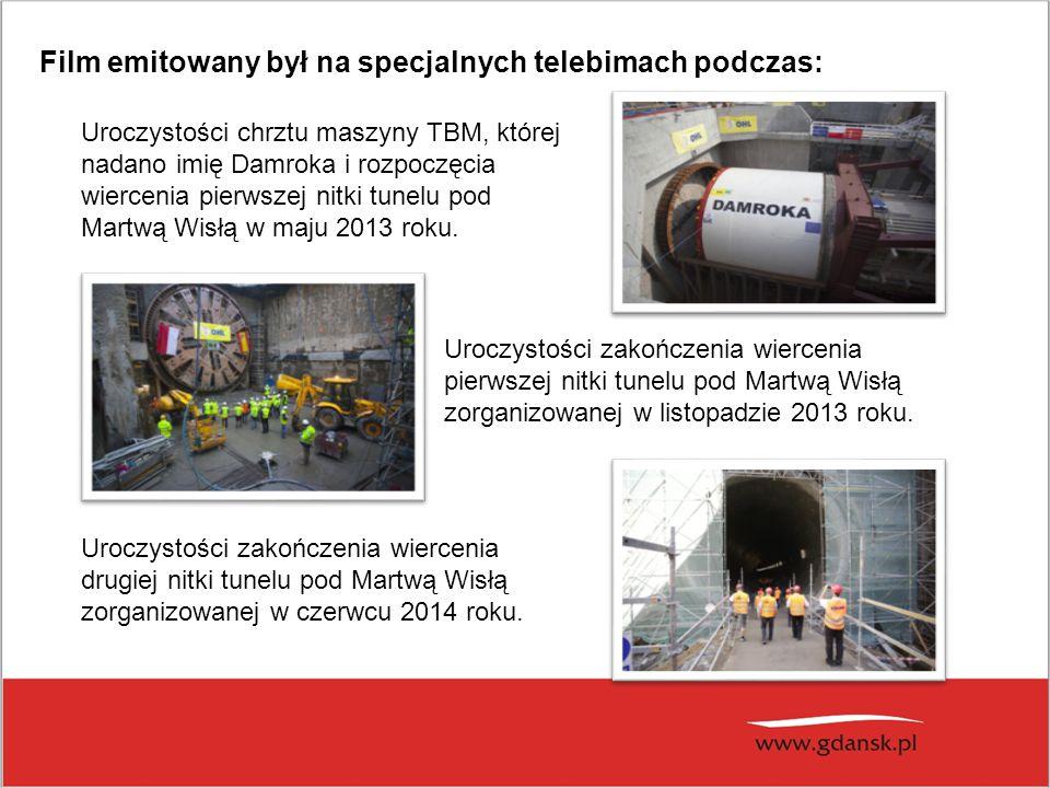 Uroczystości chrztu maszyny TBM, której nadano imię Damroka i rozpoczęcia wiercenia pierwszej nitki tunelu pod Martwą Wisłą w maju 2013 roku. Uroczyst